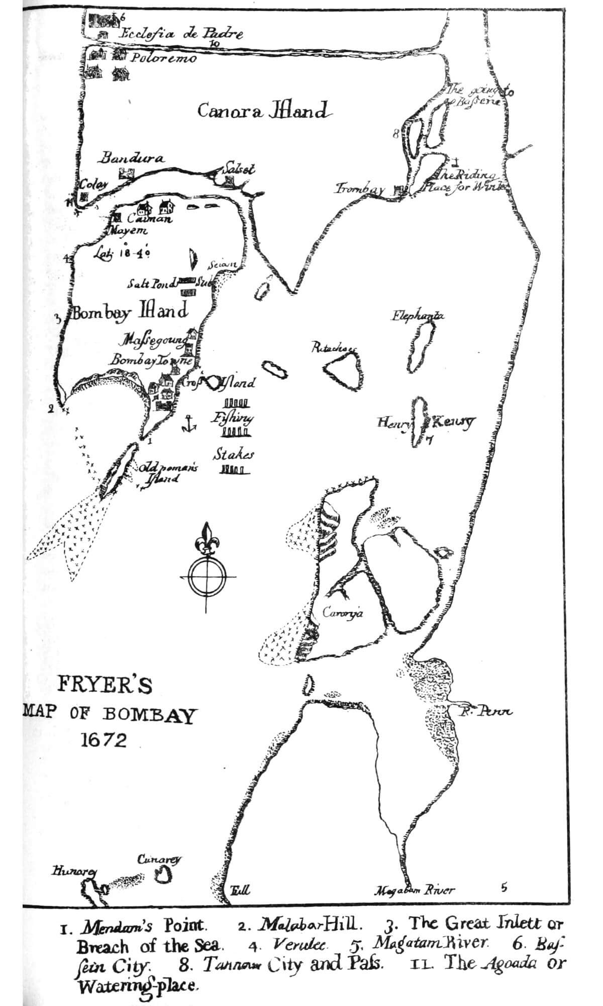 Map of Bombay in 1672